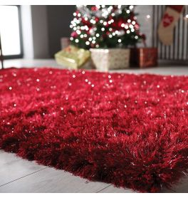 Red Glitzy Shaggy Rug