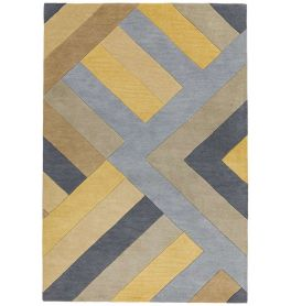 Reef Rug RF02 Big Zig Ochre Grey Wool