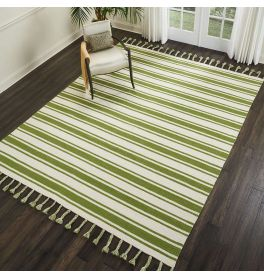 Rio Vista Dhurrie Rug DST01 Ivory Green
