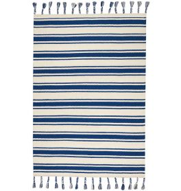 Rio Vista Dhurrie Rug DST01 Ivory Navy