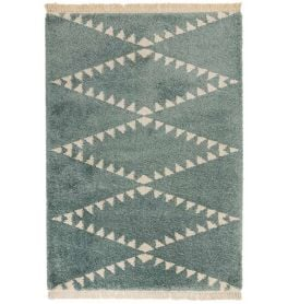 Rocco Duck Egg Blue Shaggy Tassels Rug RC06