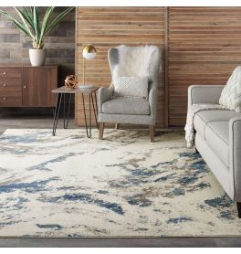 Abstract Silky Textures SLY03 Blue Ivory Grey Rug