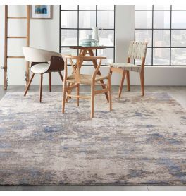 Abstract Silky Textures SLY04 Blue Ivory Grey Rug