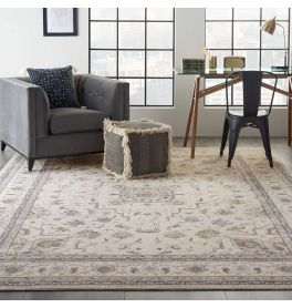 Traditional Silky Textures SLY08 Ivory Grey Rug