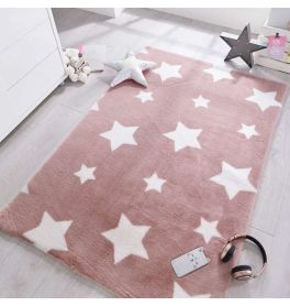 Childrens Twinkle Stars Candy Floss Pink Rug