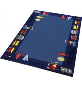 WECON Home Funny Train Blue Rug