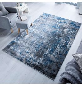 Abstract Wonderlust Blue Grey Rug