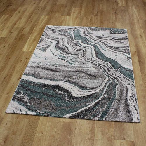 Abstract Rug Liberty Teal Grey 40 6141