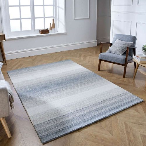 Alberolo Grey Rug Wool Stripe