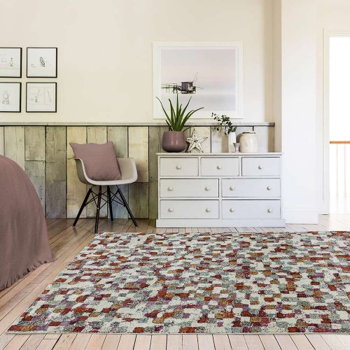 Amelie AM09 Pixel Abstract Multi Coloured Rug