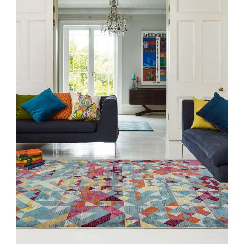 Amelie AM11 Rhombus  Abstract Multi Coloured Rug