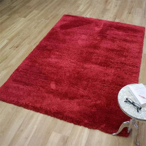 Angora Shaggy Rug Cherry Red