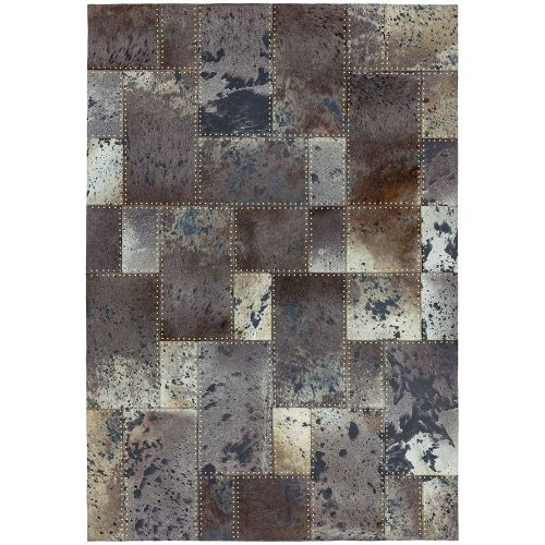 Xylo Hand Sewn Cowhide Grey Black Studs Rug