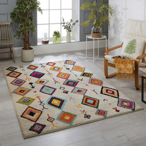 Atlas 1330 W Cream Multi Tribal Rug