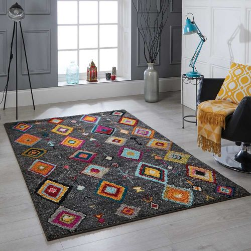 Atlas 1330 Y Charcoal Multi Tribal Rug