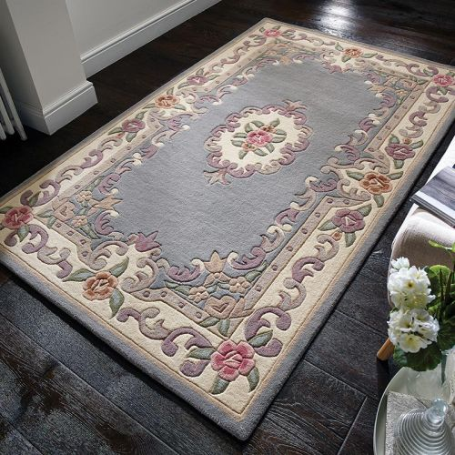 Aubusson Rug Grey Wool