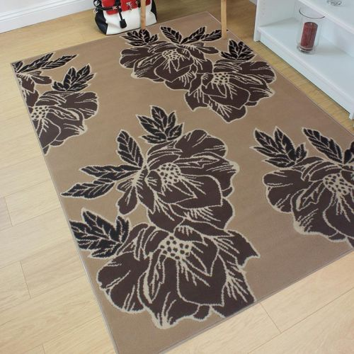 Beige Brown Floral Rug