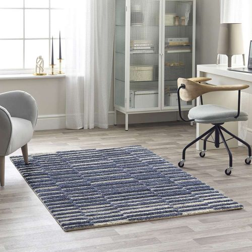 Blue 3D Rug Mason Stripes 7751A