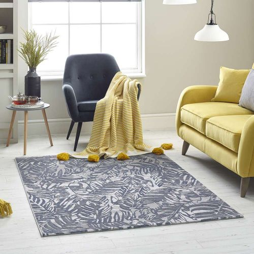 Blue Grey Leaf Rug High Rise 6467A