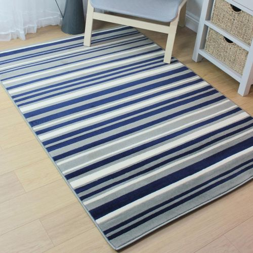Blue Grey Stripes Rug
