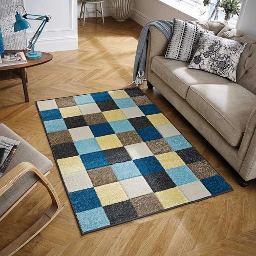 Blue Yellow Beige Portland Rug 1923E