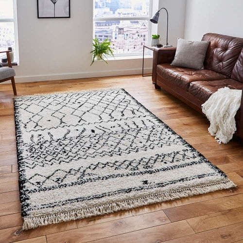 Boho Shaggy Rug 5402 Black White
