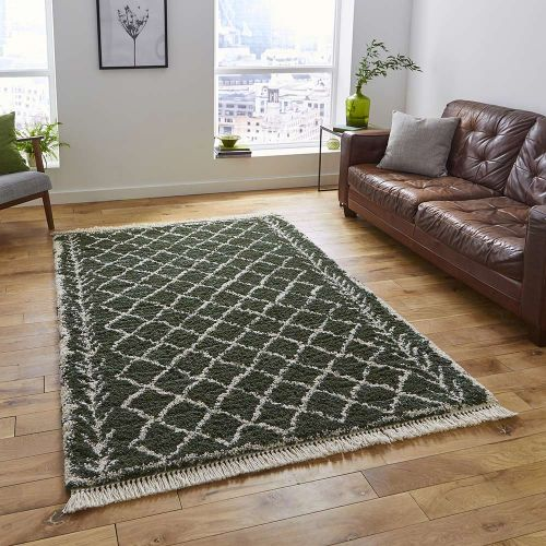 Boho Shaggy Rug 7043 Green