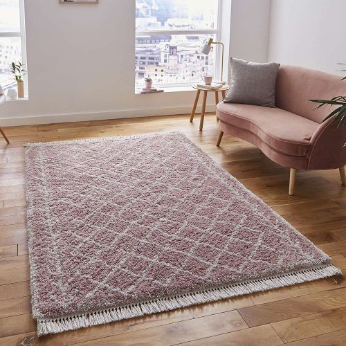 Boho Shaggy Rug 7043 Rose