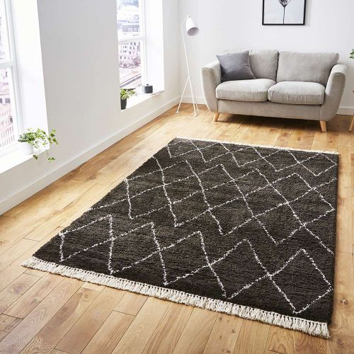 Boho Shaggy Rug 8280 Brown White