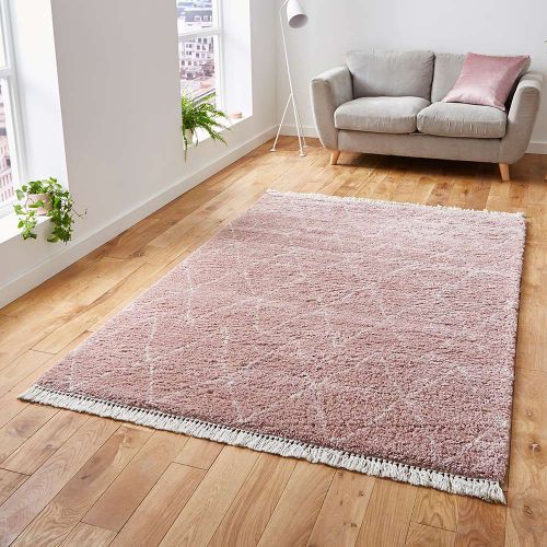 On Sale Boho Shaggy Medium Rug 8280 Rose 160x230cm size