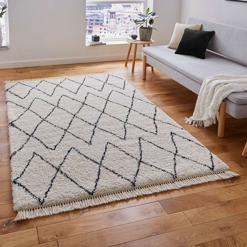 Boho Shaggy Rug 8280 White Black