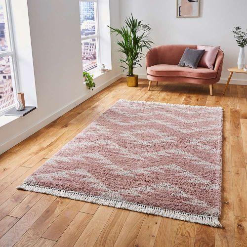 Boho Shaggy Rug 8733 Rose
