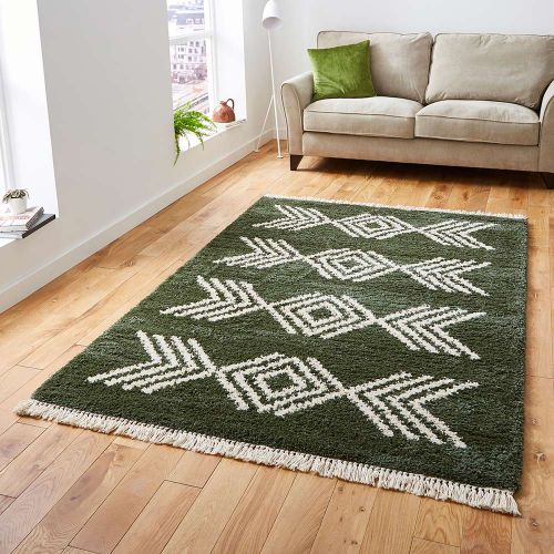 Boho Shaggy Rug 8886 Green