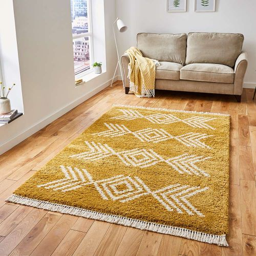 Boho Shaggy Rug 8886 Yellow