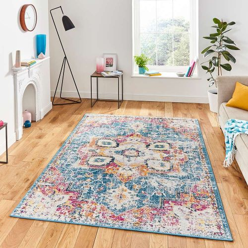 Boston G0532 Blue Fuchsia Traditional Rug