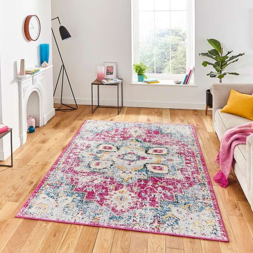 Boston G0532 Fuchsia Blue Traditional Rug