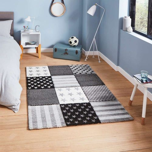 Brooklyn 777 Childrens Stars and Stripes Black and Grey Rug