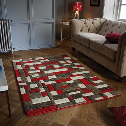 Red Brown Cream Portland Rug 1098R
