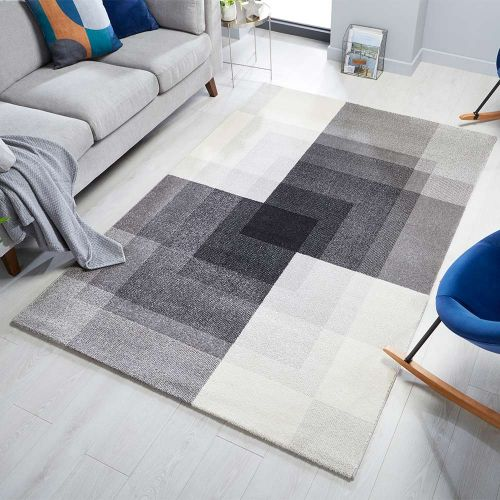 Cadiz Plaza Abstract Rug Grey Black