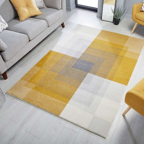Cadiz Plaza Abstract Rug Grey Ochre