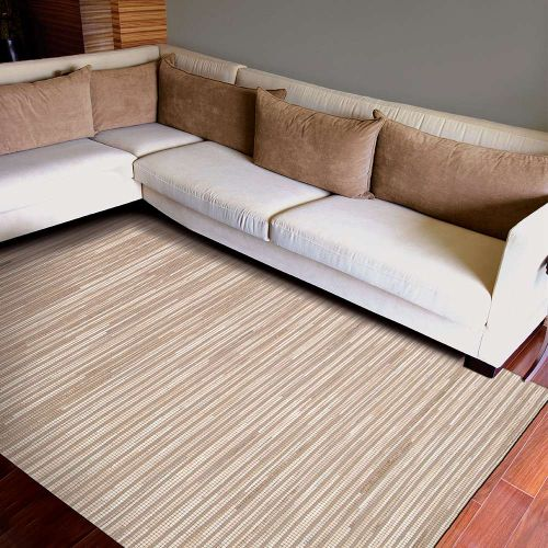 Capelle Beige Rug Wool Leather