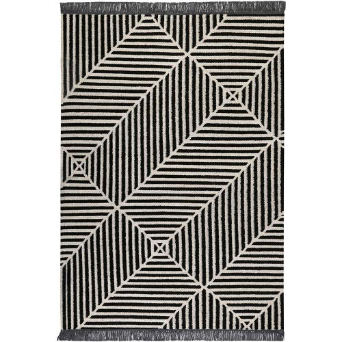 Carpets & Co Irregular Fields Black Rug