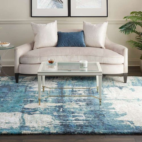 Abstract CORSICA Shag CRC01 Blue Rug