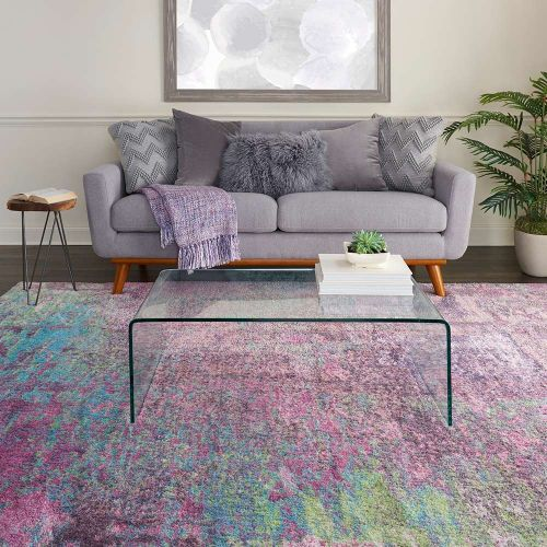 Abstract CORSICA Shag CRC02 Pink Multi Rug