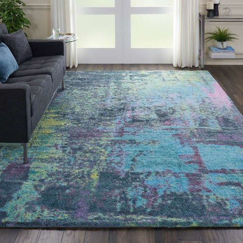Abstract CORSICA Shag CRC02 Teal Multi Rug