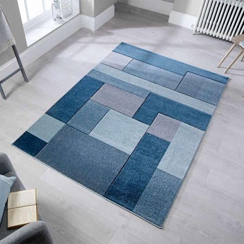 Cosmos Geometric Denim Blue Rug