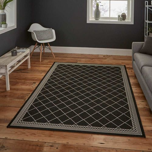 Thin Cottage Rug 7643 Black Cream
