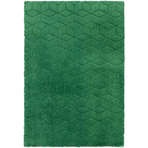 Cozy Rug Plain Green Geometric