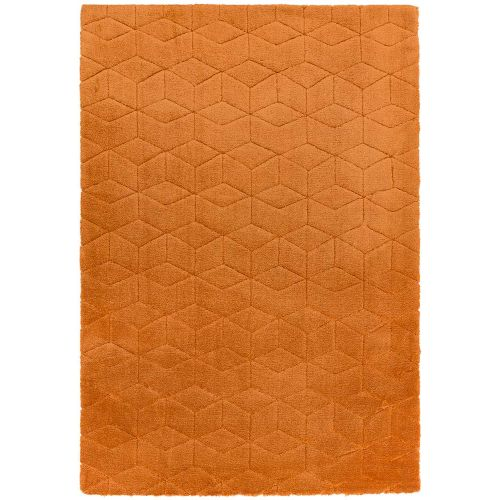 Cozy Rug Plain Orange Geometric