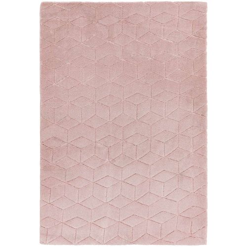 Cozy Rug Plain Pink Geometric